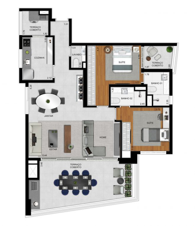 Plan option 117 m² apartment - 2 suites and extended living room