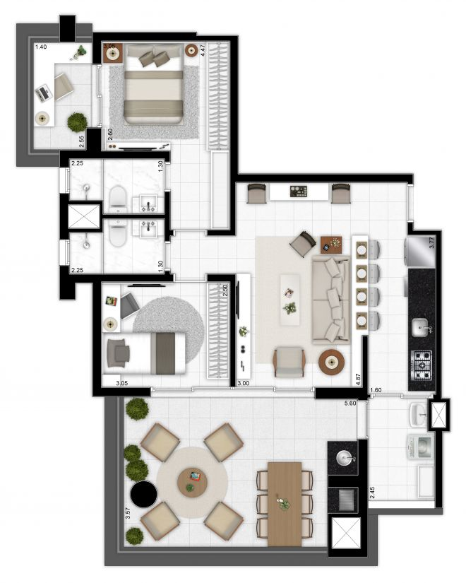 Floor plan 90m² - 2 bedrooms (1 suite) with decoration suggestion