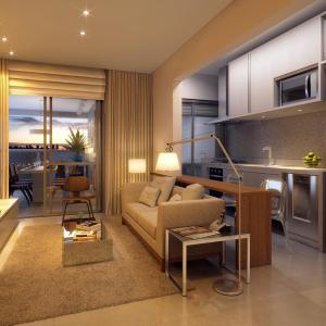 Artistic illustration of 64,70m² apartment living the