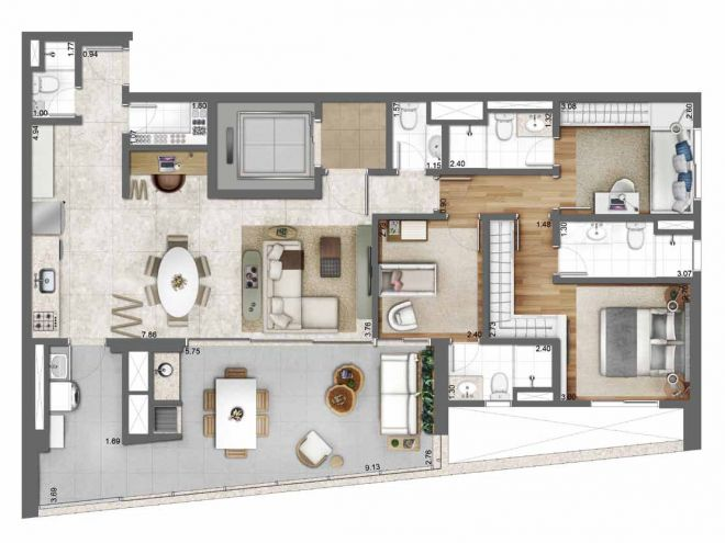 131 m² floor plan - 3 bathrooms and integrated kitchen with decoration suggestion