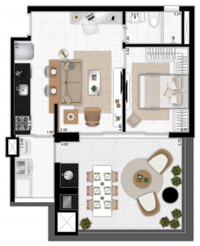 Floor plan 64 m² - 1 bedroom - expanded kitchen integrated into the living room with decoration suggestion