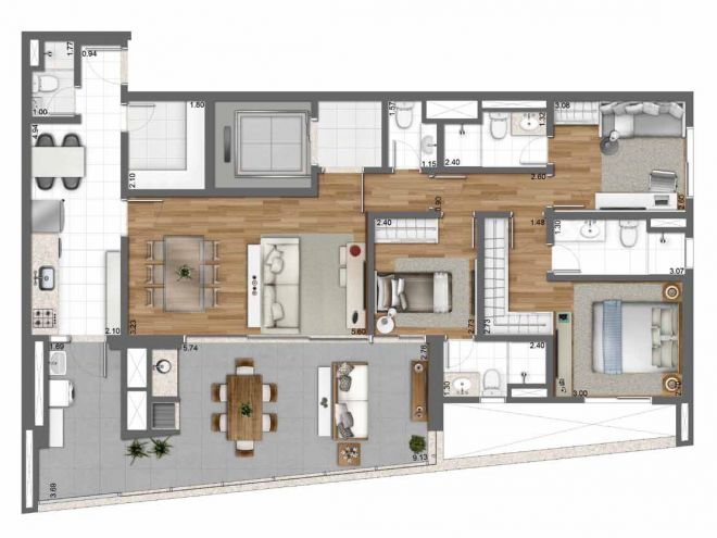 131 m² floor plan - 3 suites with decoration suggestion