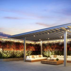 Artistic illustration of outdoor lounge