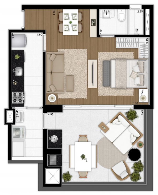 Floor plan 64 m² - integrated suite and living room, expanded kitchen, with decoration suggestion