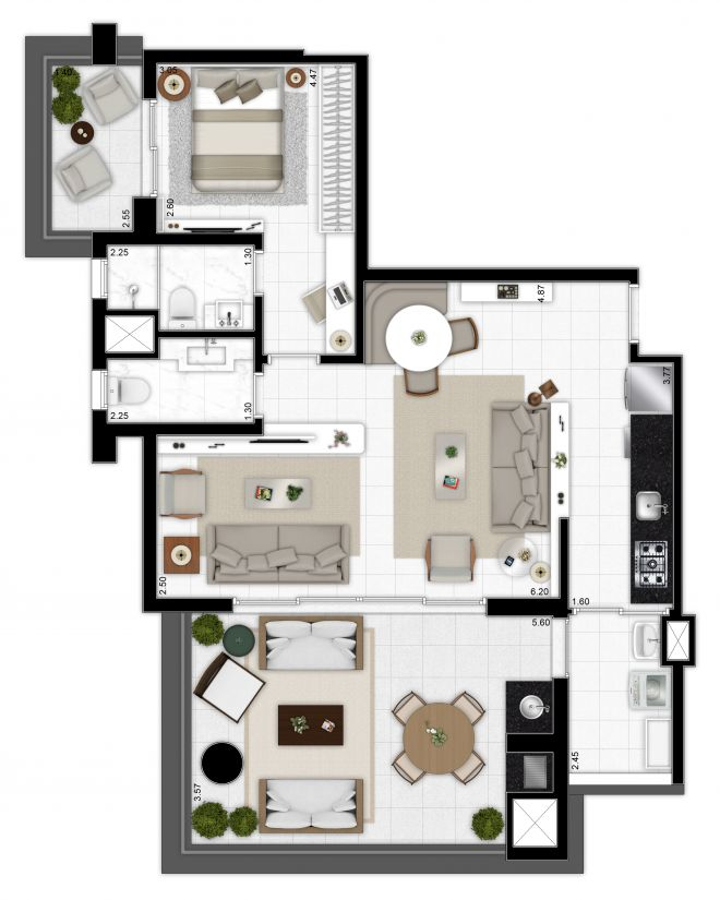 Floor Plan 90m² - 1 suite - toilet - living room with decoration suggestion