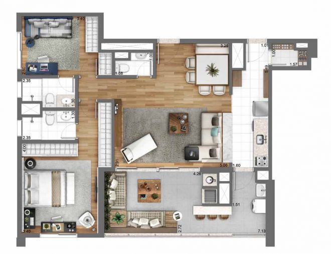 105 m² floor plan - 2 suites with decoration suggestion